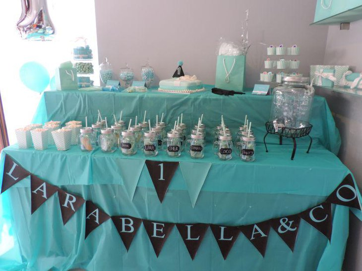 Cute blue themed birthday candy table