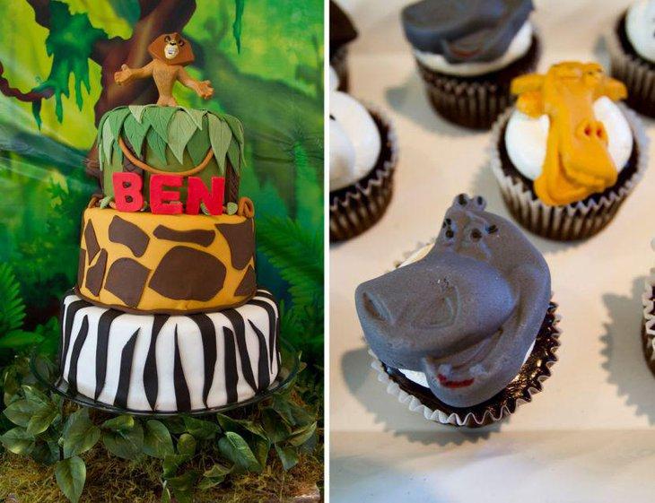 Cute Boys 1st Birthday Madagascar Themed Party Table Decor