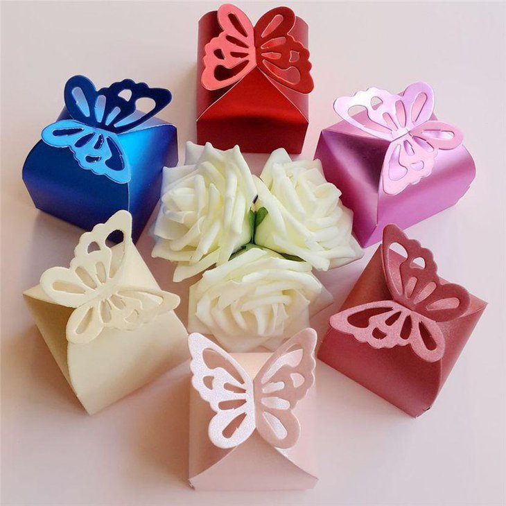 Cute butterfly gift candy bomboniere box favors for baby shower