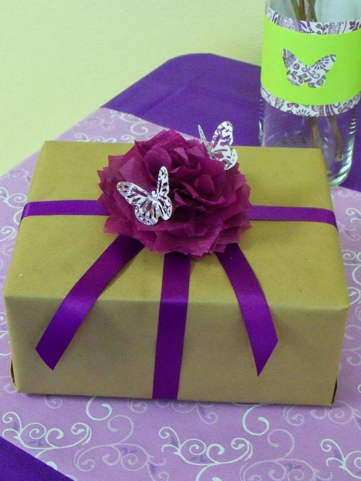 Cute butterfly themed gift centerpiece for baby shower