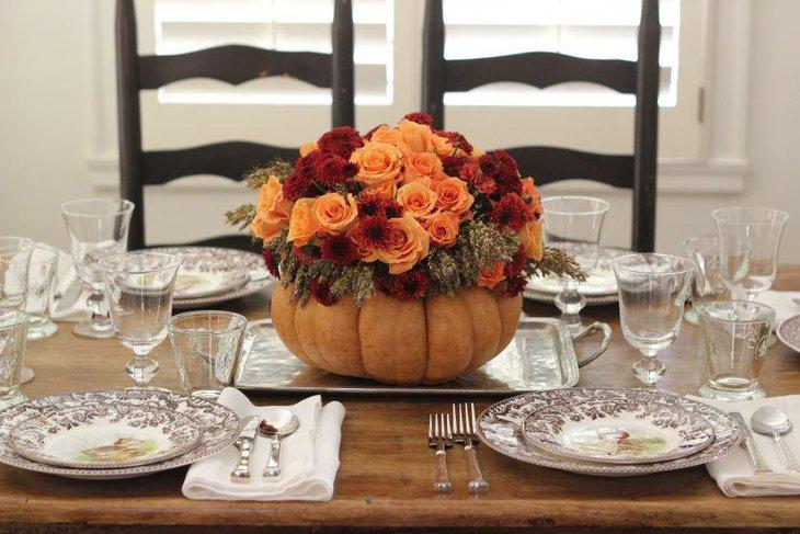 Cute DIY Flower Pumpkin Dining Table Centerpiece