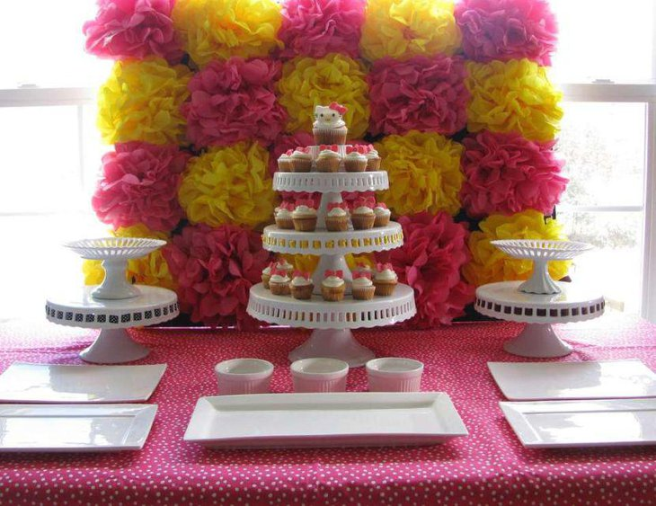 Cute DIY party dessert table decor with artificial ruffled flowers
