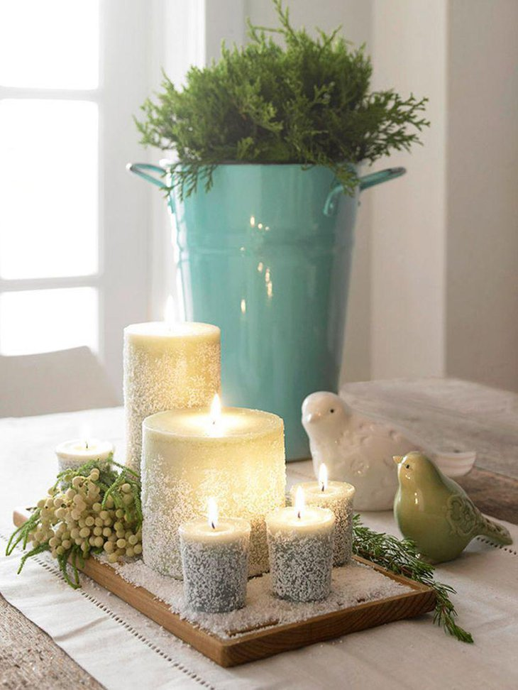 Cute epsom salt candle centerpieces for winter table