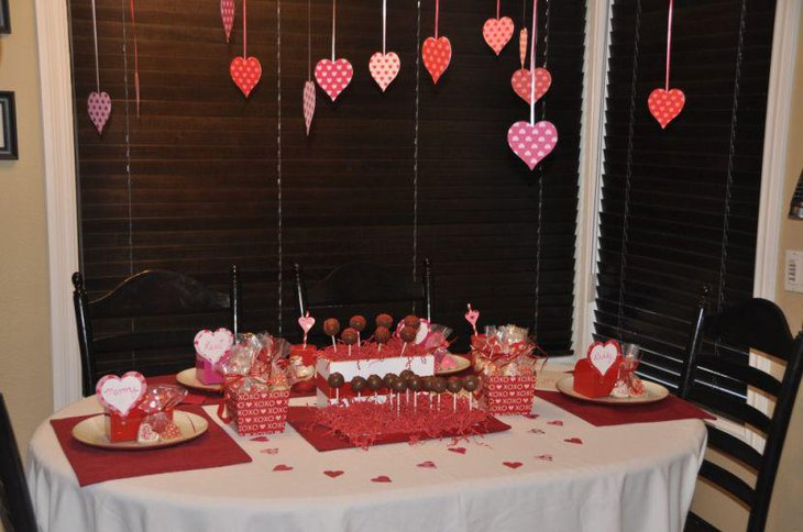 Cute heart decorations on Valentines table