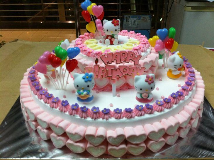 Admirable 1St Birthday Unique Hello Kitty Cake 1St Birthday Ideas Birthday Cards Printable Benkemecafe Filternl