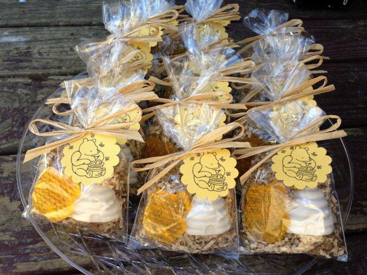Cute honeycomb soap favors for Winnie The Pooh baby shower