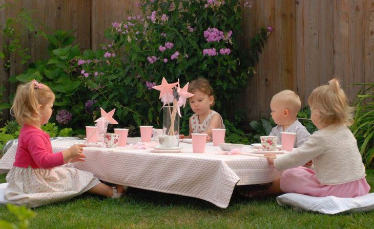 Cute kids tea party with pink theme