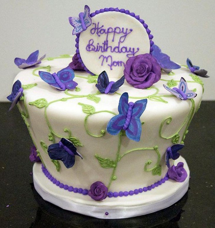 Cute mom birthday cake centerpiece with purple butterfly decorations