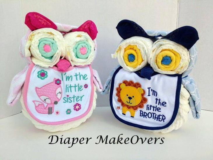 Cute owl diapers for twin babies
