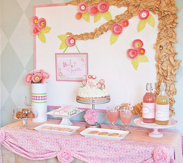 Cute pastel floral themed girl baby shower decor
