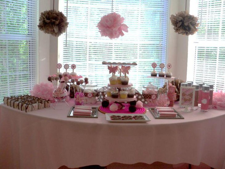 Cute pink accented butterfly baby shower table