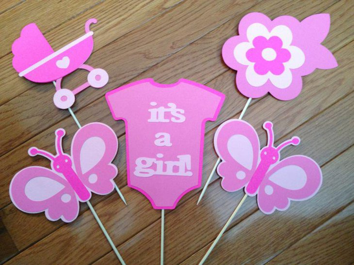 Cute pink butterfly baby shower cutouts for table decorations