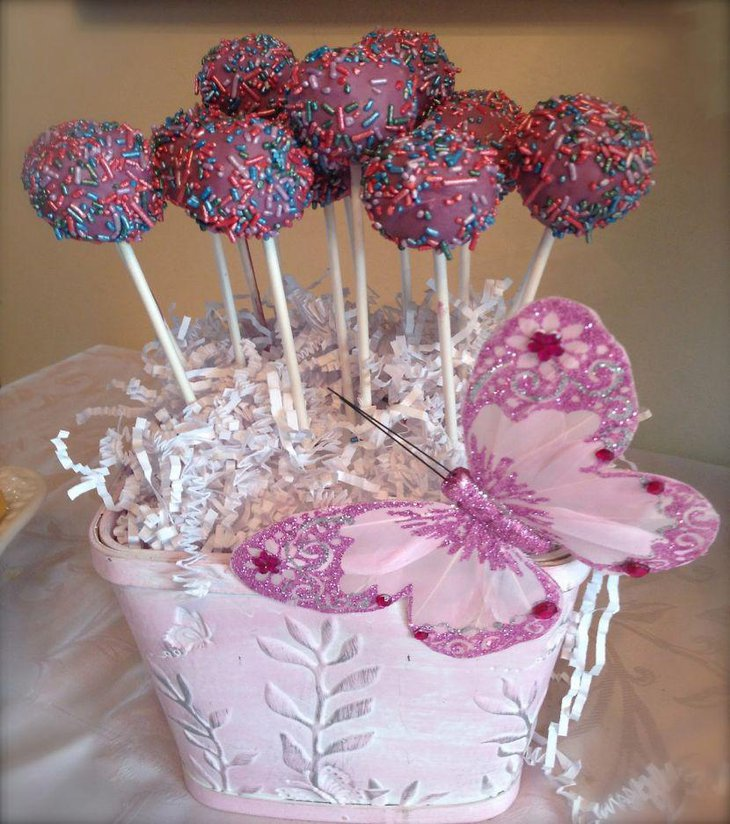 Cute pink butterfly themed baby shower centerpiece