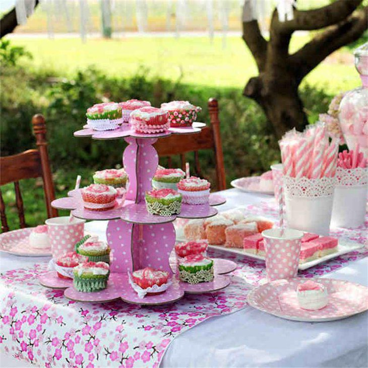 Cute pink cupcake stand for party dessert table decor