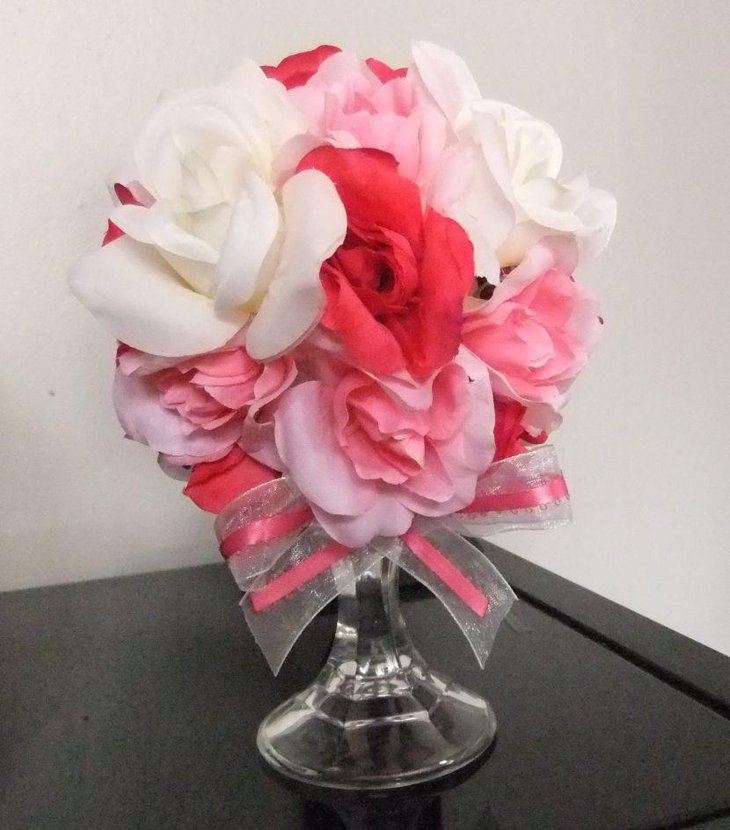 Cute Pomander flower ball Valentines centerpiece