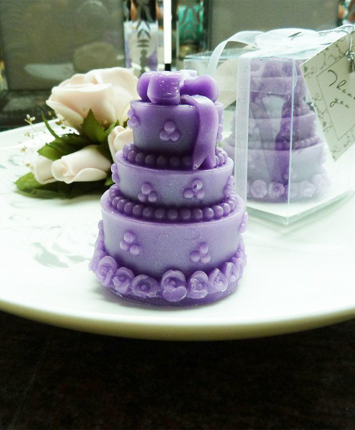 Cute purple cake candle favor decoration