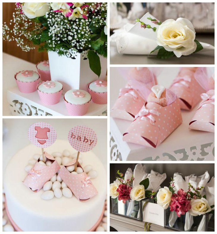 Cute spring girl baby shower decor idea