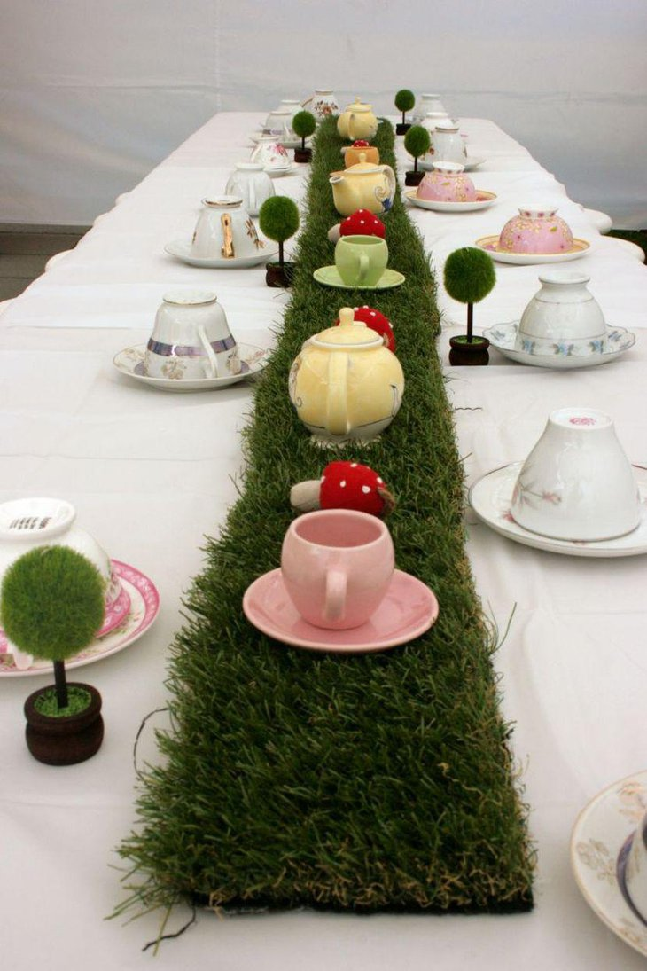 Cute tea party table decorations with Alice in Wonderland theme