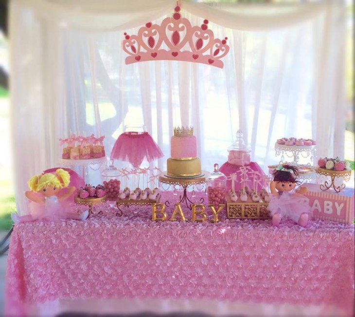 Cute Tutu and Tiara baby shower candy table decor