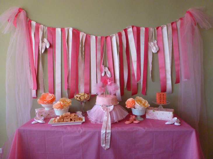 Cute tutu themed pink girl baby shower