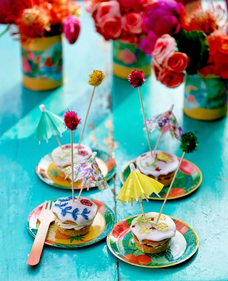 Cute umbrella decorations on summer birthday table