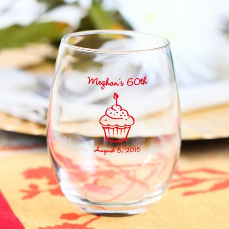 Cute wine seamless glass decor for adult birthday party table