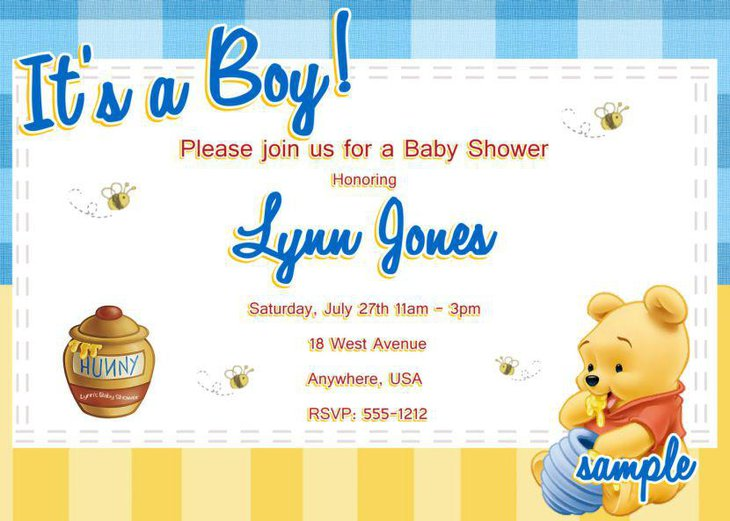 Cute Winnie The Pooh baby shower invite for a boy