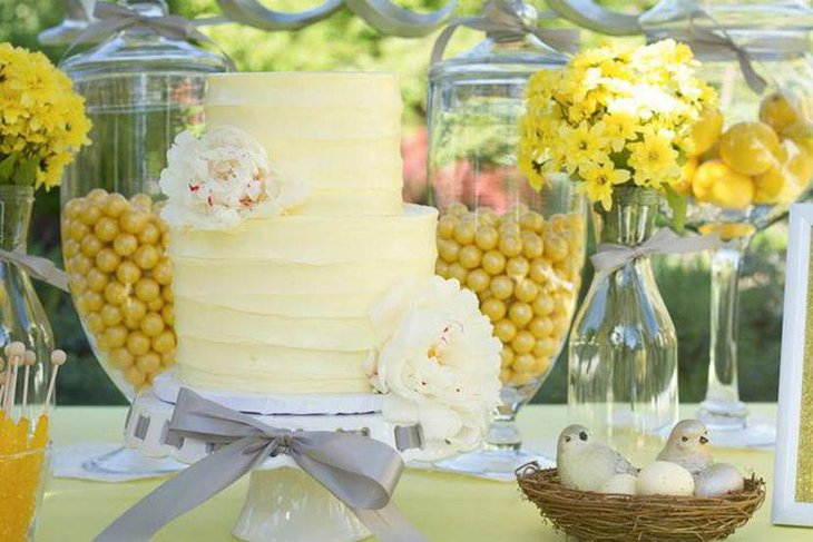 Cute yellow accented garden party table decor