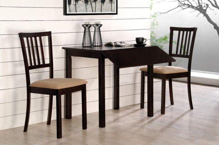 Dark and antique drop leaf dining table set