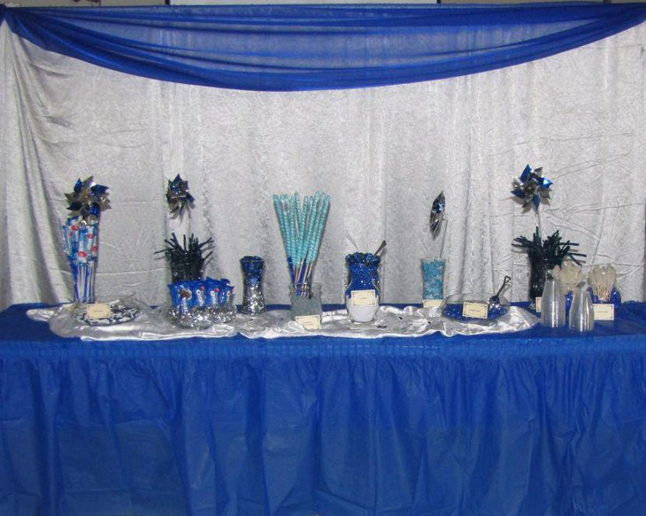 Dark blue candy table for office party