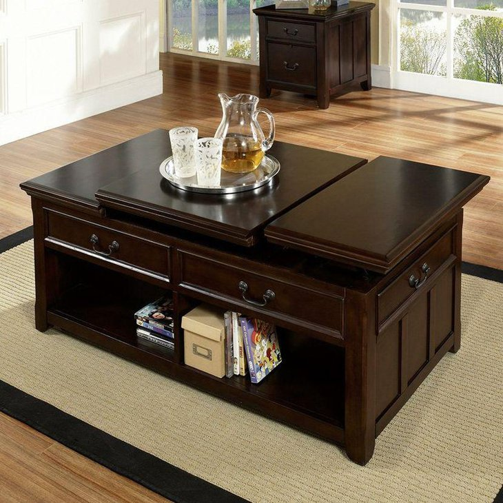 35 creative lift top coffee table ideas for Dark wood lift top coffee table
