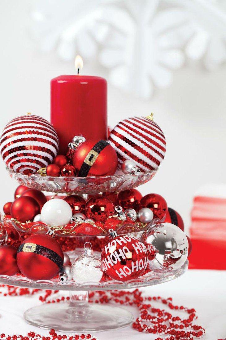 Decorative Red Candle Christmas Table Centerpiece