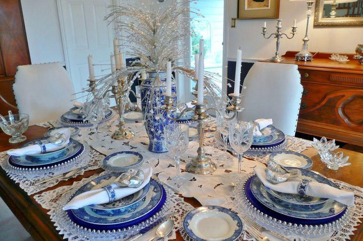 Decorative silver and blue formal party table setting