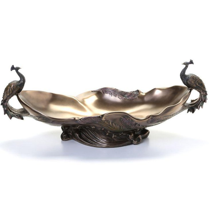 Decorative Toscano peacock bowl centerpiece