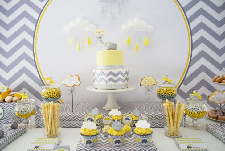 Delicious decoration for dessert table for yellow and grey baby themed baby shower