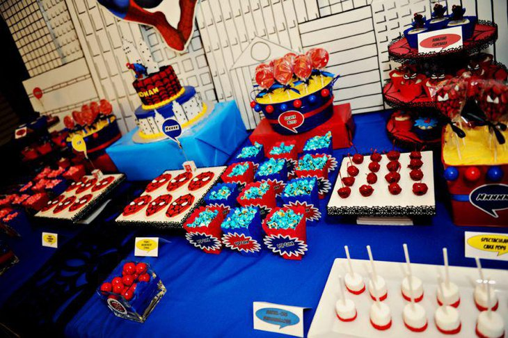 Delicious dessert table for Spiderman Birthday party