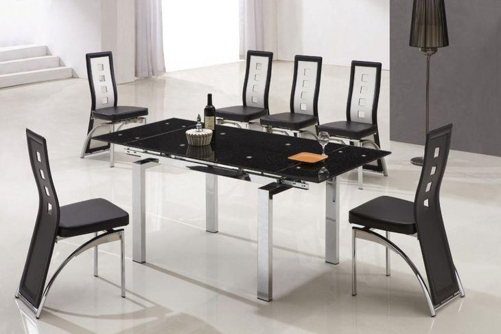 Delightful black metallic modern dining table idea