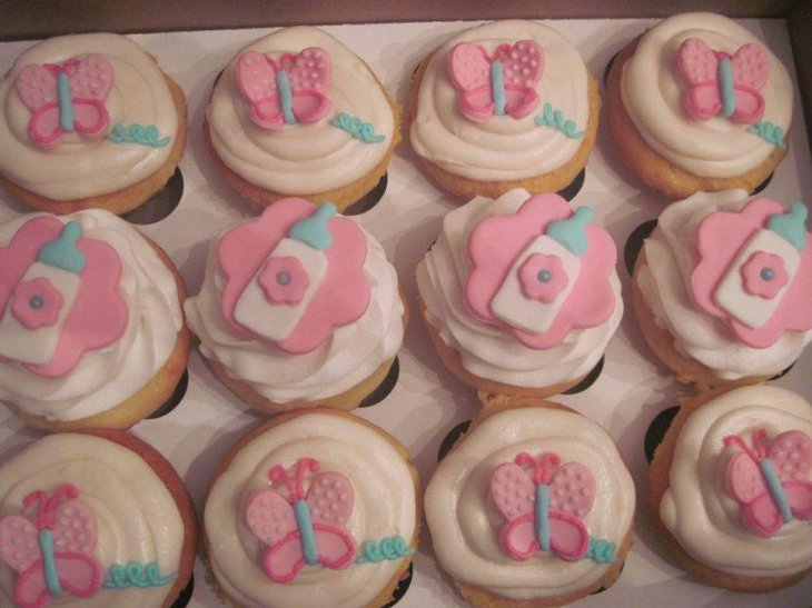 Delightful butterfly themed baby shower cupcakes