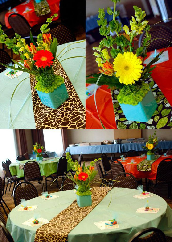 Distinctive Animal Print Table Runners with Floral Centerpieces
