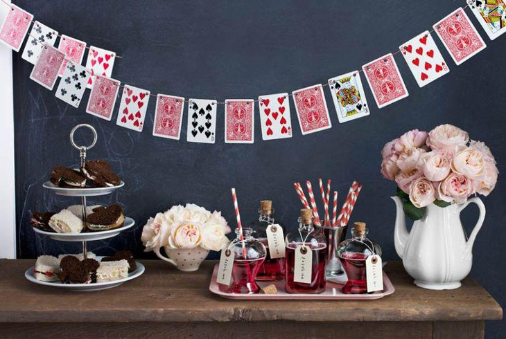 DIY Alice in Wonderland themed tea party table