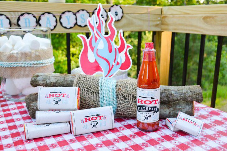 DIY barbeque themed adult birthday table decor