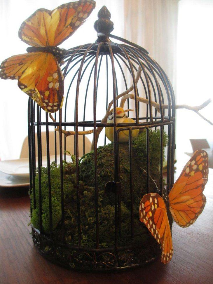 DIY Birdcage Wedding Table Centerpiece With Butterflies and Bird