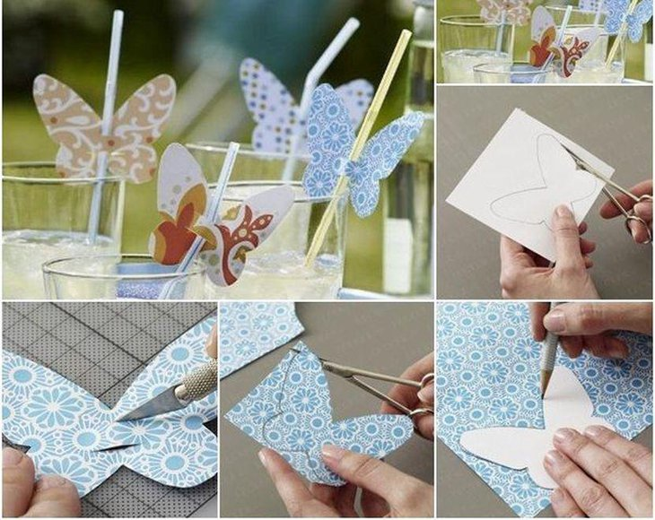 DIY Birthday Table Decor With Paper Butterfly Straws