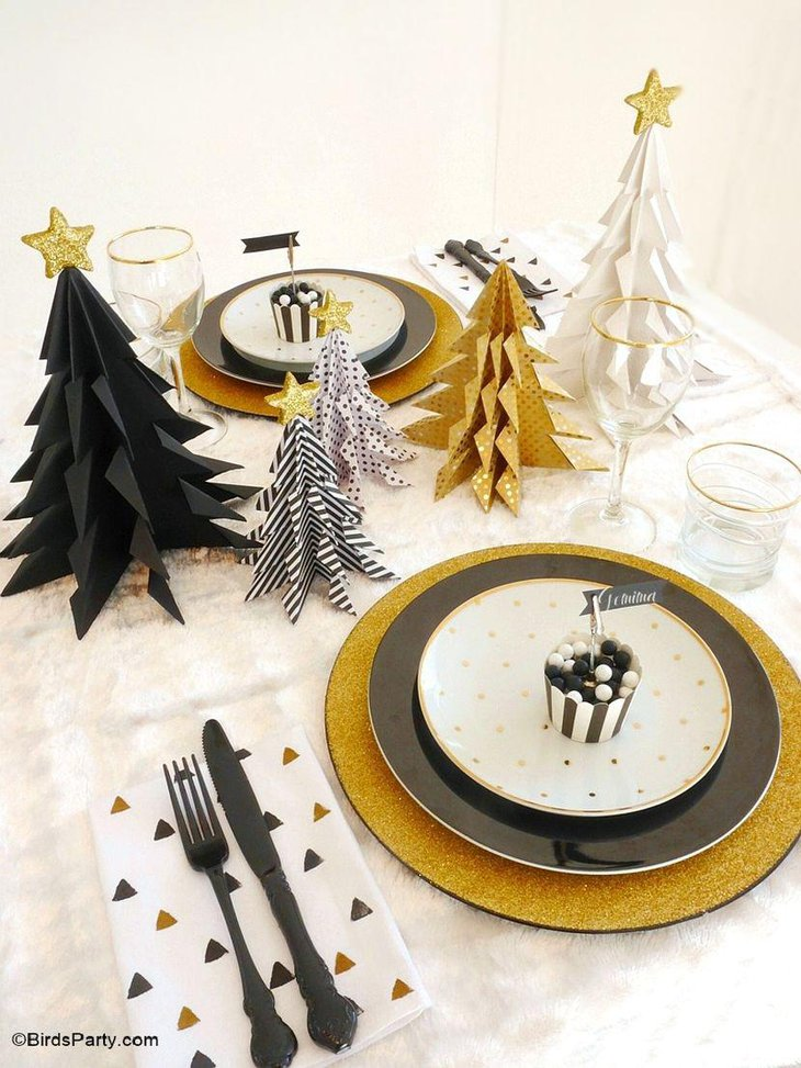 DIY black and gold origami Christmas tree decoration
