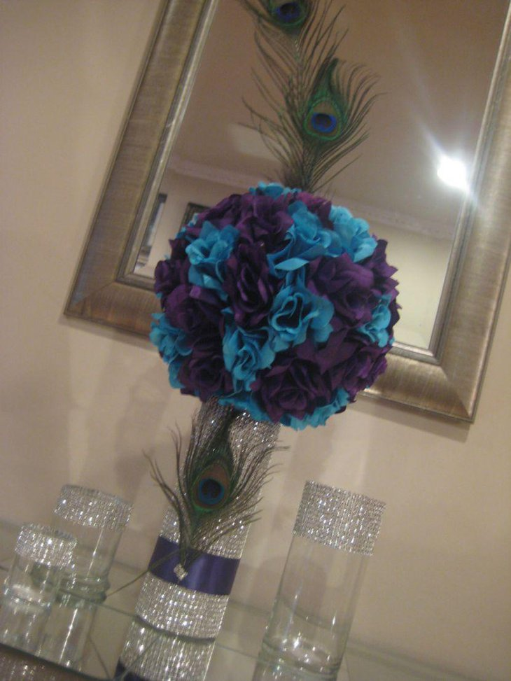 DIY bling peacock centerpiece