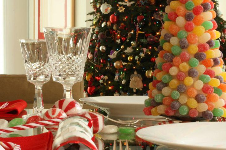 DIY Christmas Candy Tree As Christmas Table Centerpiece