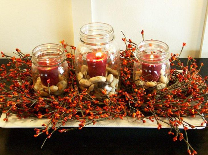 DIY Christmas Table Decor With Jars And Candles On A Tray As Centerpiece
