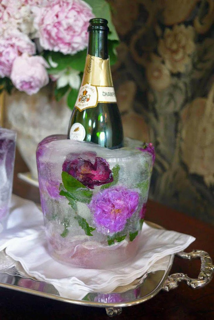 DIY Cool Floral Ice Bucket As Wedding Table Centerpiece