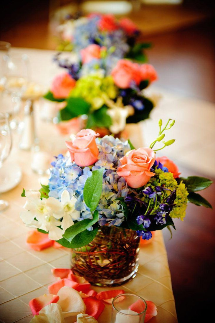 DIY floral spring table centerpiece