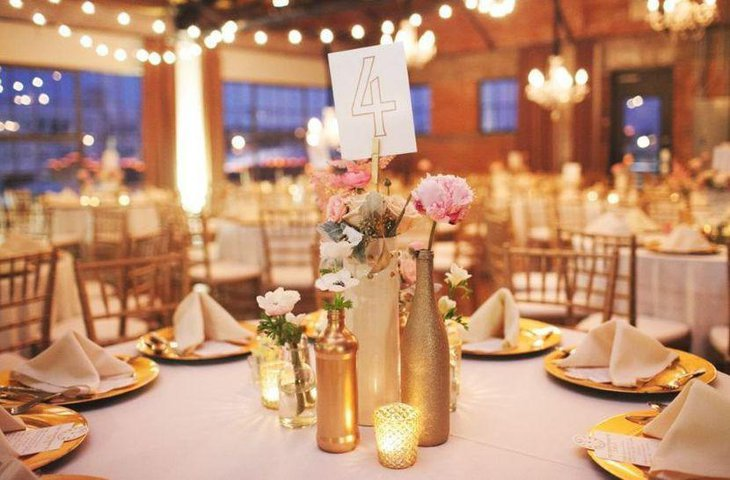 DIY Gold Painted Wine Bottle Centerpieces For Wedding Tables